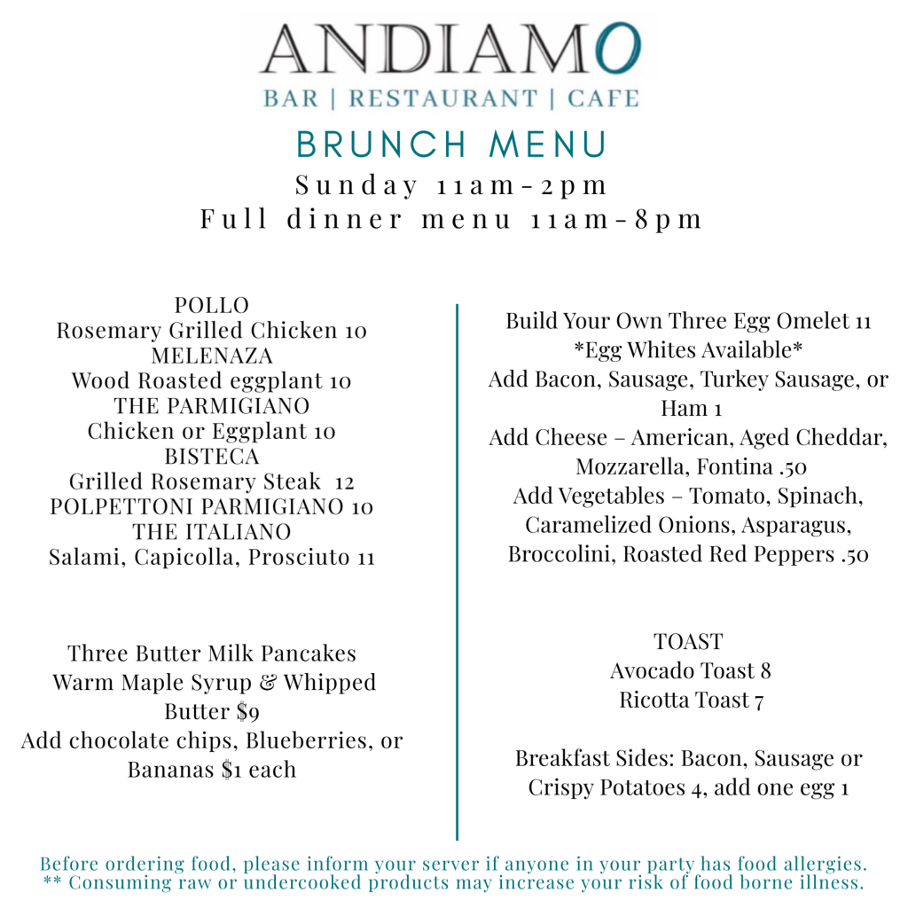 Brunch Menu at Andiamo Andover